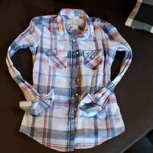 Hollister sheer button up shirt
